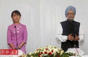缅甸反对派全国民主联盟主席昂山素季(左)会见来访的印度总理辛格