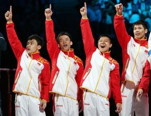 伦敦奥运会:中国体操男团夺冠