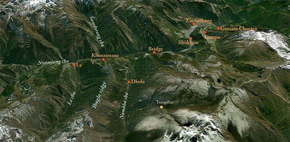 塔格拉山脊(Thagla ridge)和克节朗河(Namkha chu river)地图
